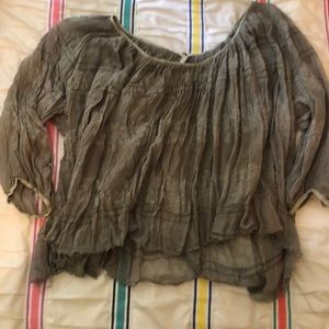 Green Free People Peasant Blouse